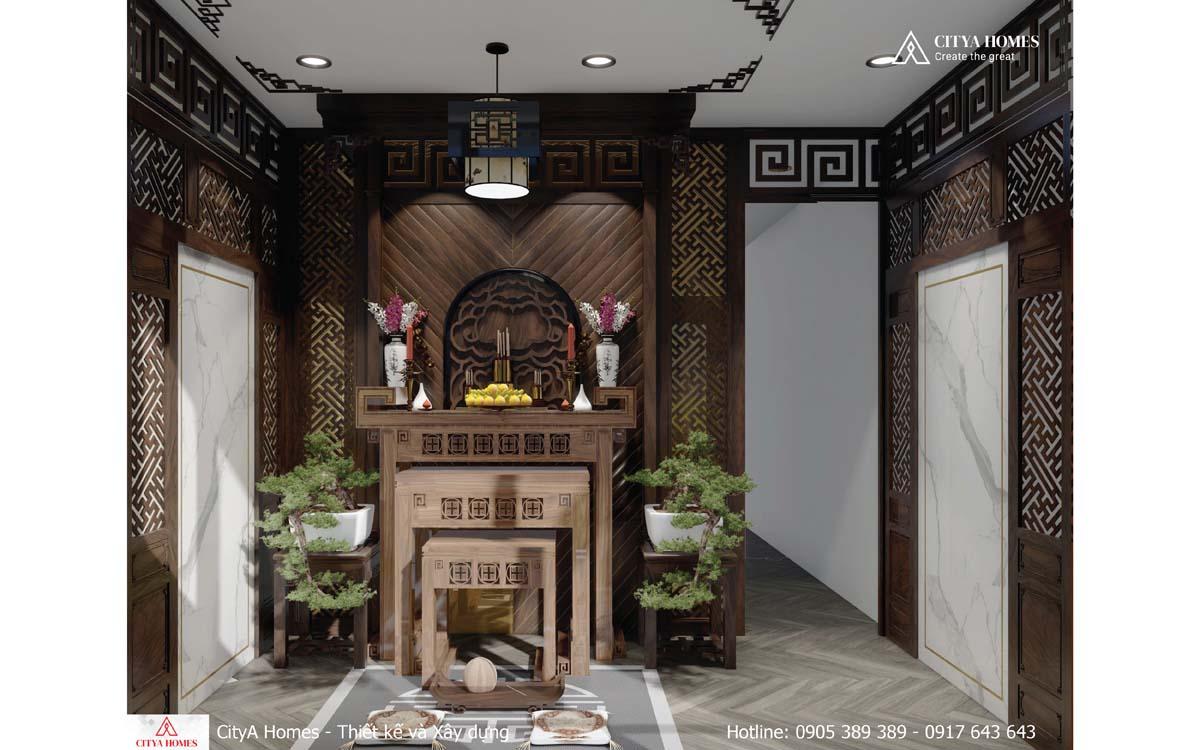Phòng thờ được bố trí hết sức tôn kính và trang nghiêm