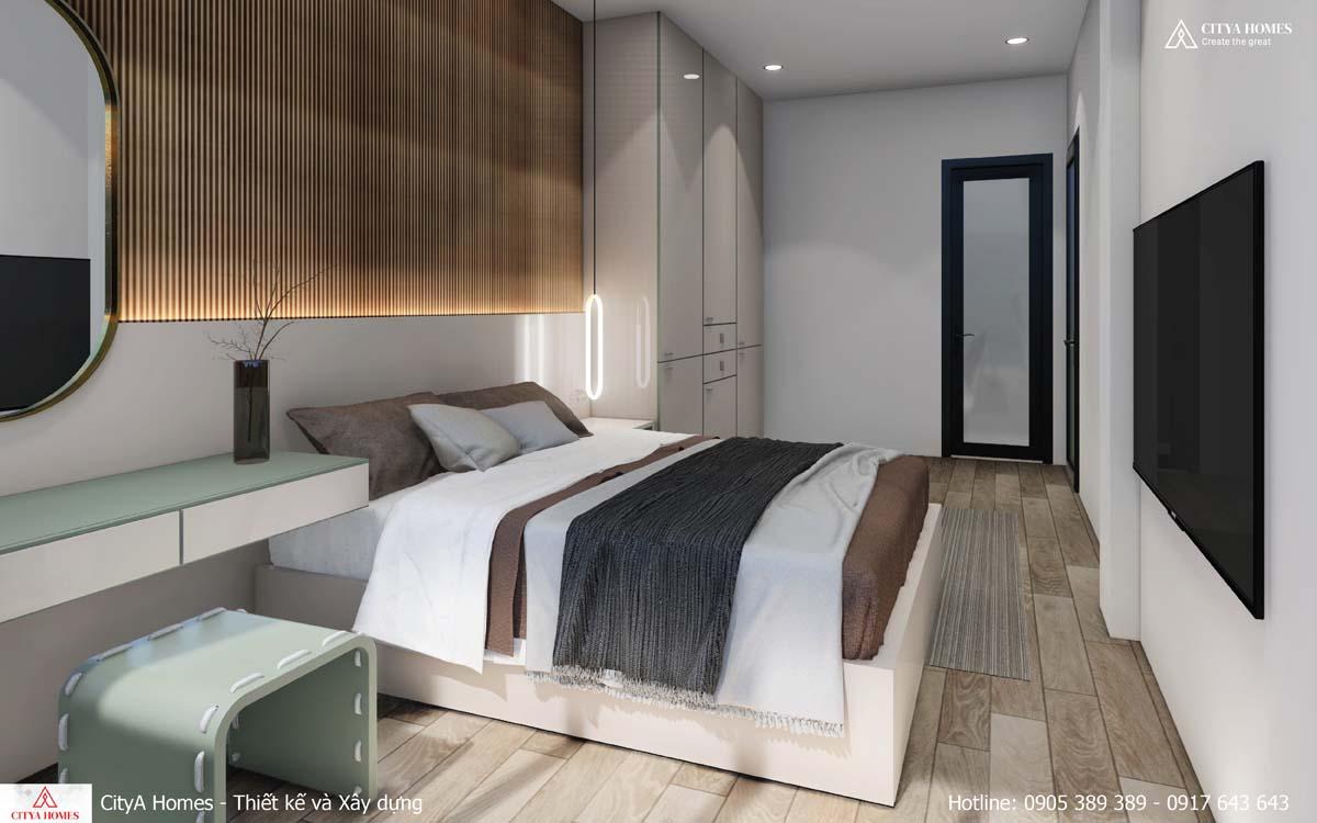 Tủ đựng đồ được đặt ngang, làm tăng diện tích sử dụng trong phòng ngủ