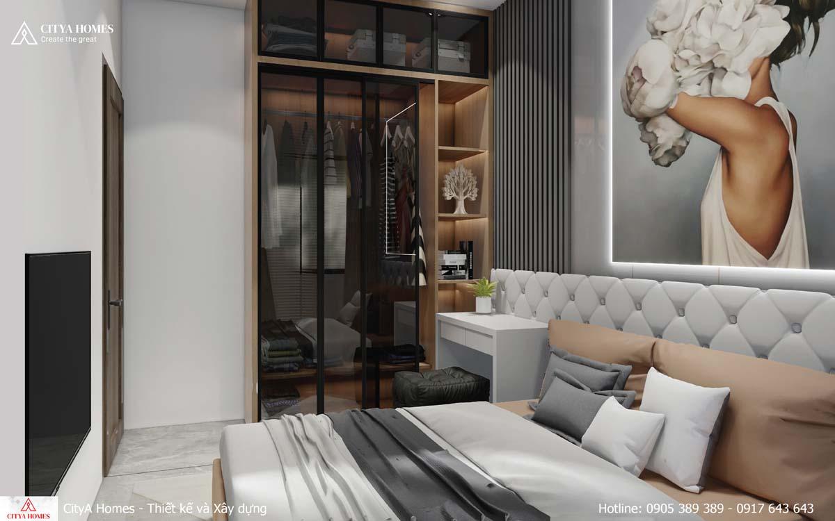 Tủ đựng quần áo được thiết kế trong suốt, chạm tường, kết hợp lam gỗ tạo vẻ đẹp tinh tế
