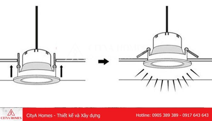 Cách đưa đèn Lên để Lắp đặt