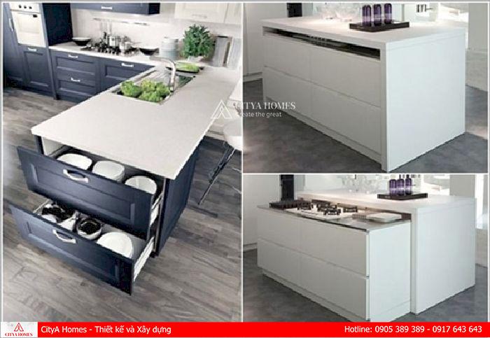 Thiết kế tủ chứa đồ của đảo bếp nên tối ưu không gian