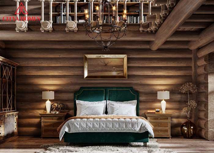 Phòng Ngủ Rustic Cổ điển được Làm Hoàn Toàn Từ Chất Liệu Gỗ Tự Nhiên