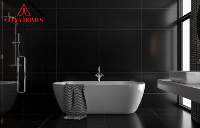 Sàn Nhà Tắm Màu đen Sang Trọng Kết Hợp Với Màu Nội Thất Trắng Tạo Nên Hiệu ứng Tương Phản ấn Tượng