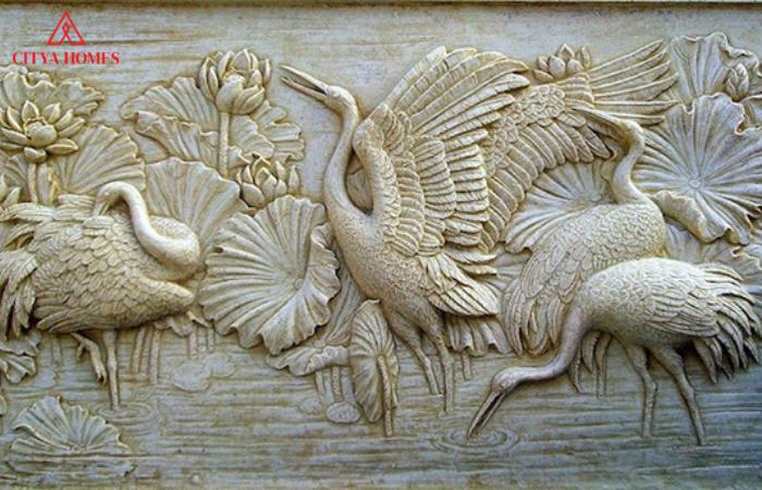 Tranh Phù điêu được Chạm Khắc Từ Xi Măng đẹp