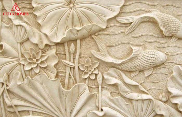 Tranh Phù điêu Thạch Cao Hoa Sen Cá Chép Trong Trang Trí Nhà Cửa.