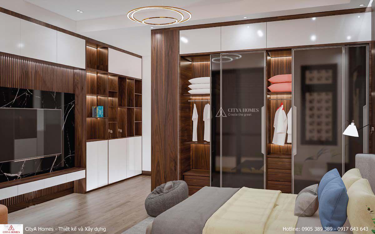 Một View Trong Phòng Ngủ, Có Hệ Tủ Cánh Kính Kết Hợp Với Màu Gỗ Góp Phần Tạo Nên Một Không Gian Sang Trọng