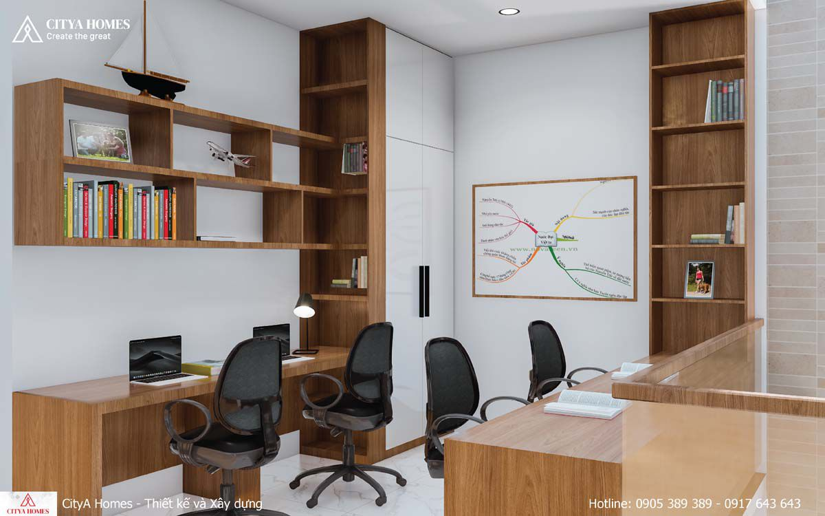 Phòng Làm Việc đầy Sáng Tạo, Khơi Nguồn Cảm Hứng Với Tủ Sách Nối Liền Bàn