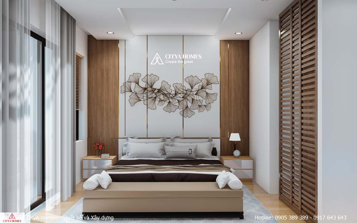 Phòng Ngủ đầy đủ Tiện Nghi Cùng Hoạ Tiết Hoa Văn Trang Trí Nhã Nhặn