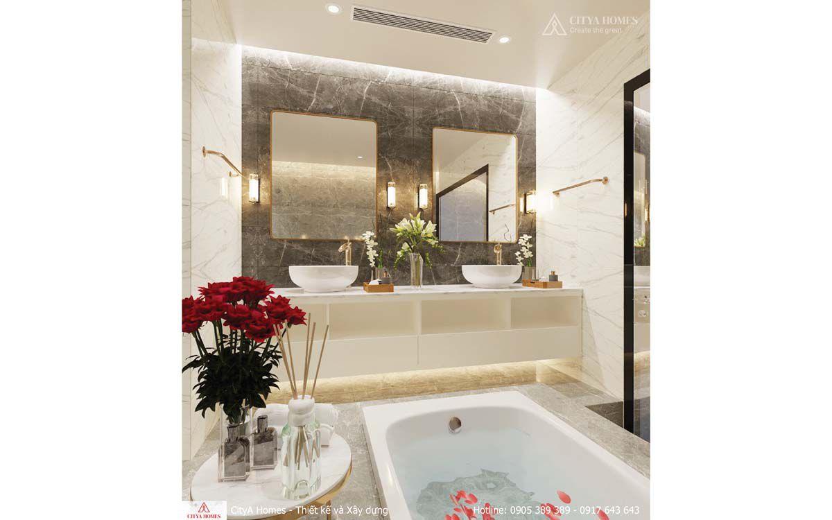 Phòng Tắm Mang Phong Cách Luxury được Bố Trí 2 Bồn Rửa Mặt Khác Biệt So Với Nhà Phố Thông Thường